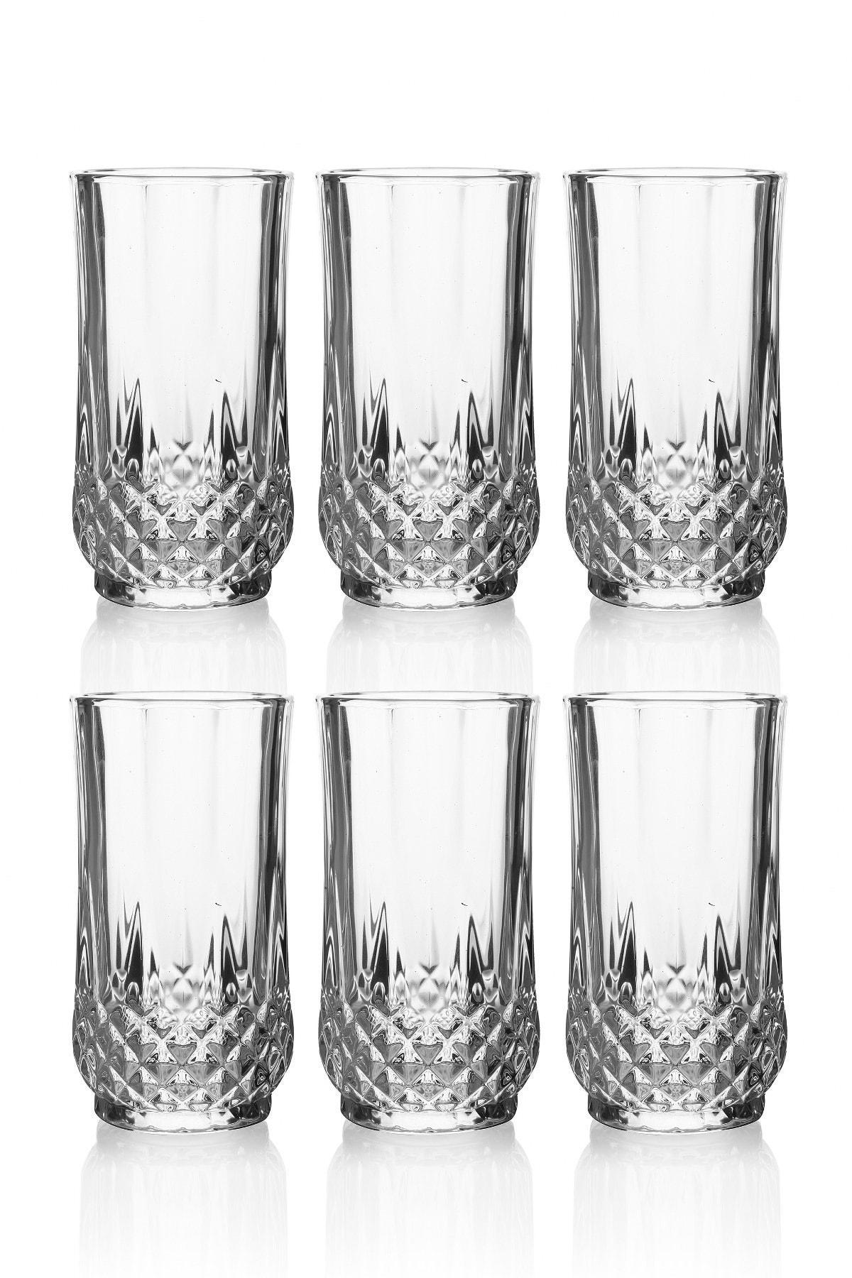 Queen's Kitchen Beyaz Kristal Kesme 6'lı Lüx Uzun Meşrubat Bardağı 1