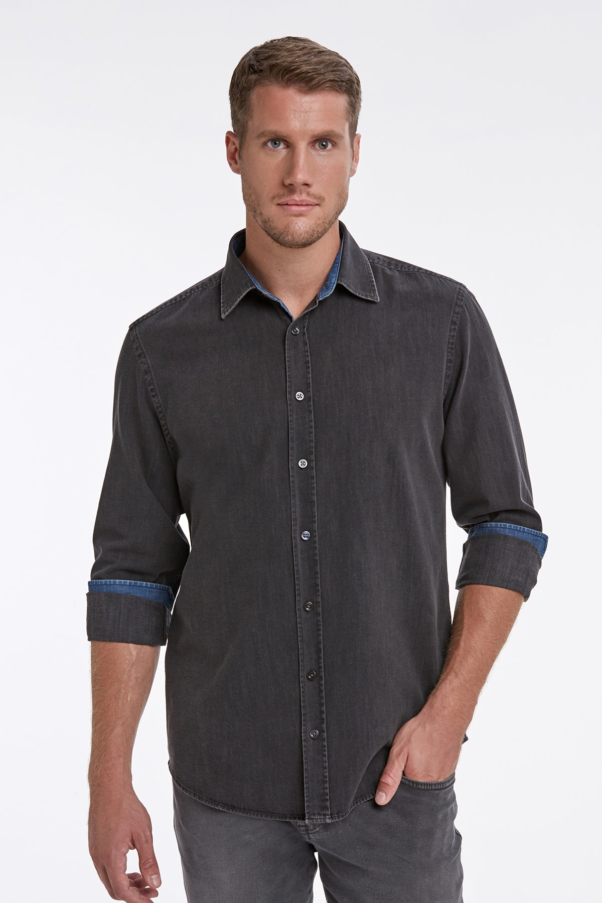 Hemington Erkek Gri Slim Fit Denim Gömlek 1