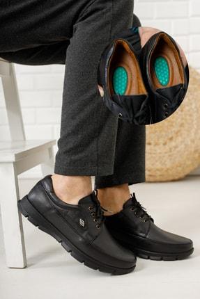 ULUSOY Erkek Siyah Ortopedi Topuk Masajlı Hakiki Deri Kışlık Ayakkabı