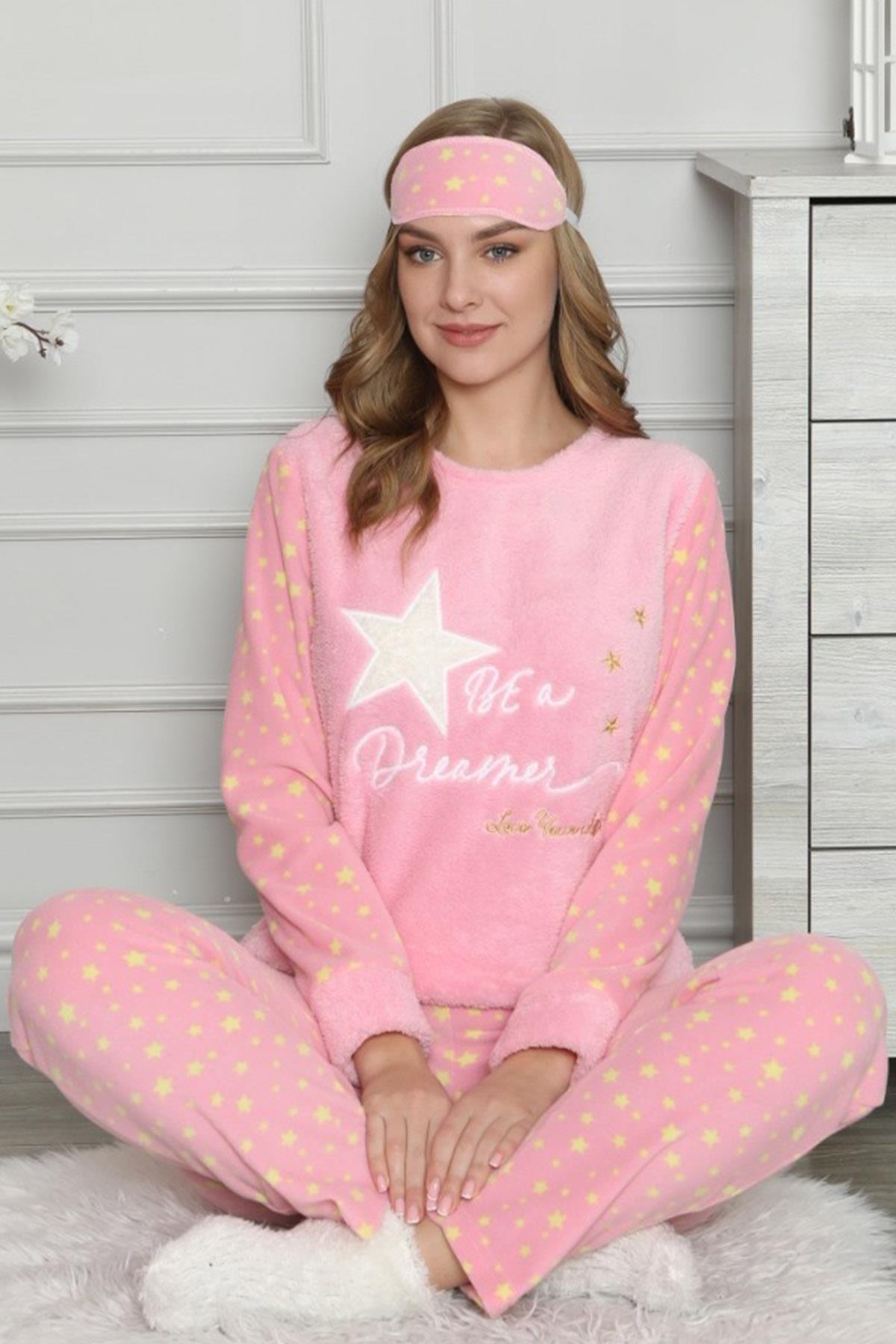 Pijamaevi Kadın Pembe Star Dreamer Desenli Peluş Pijama Takımı 1