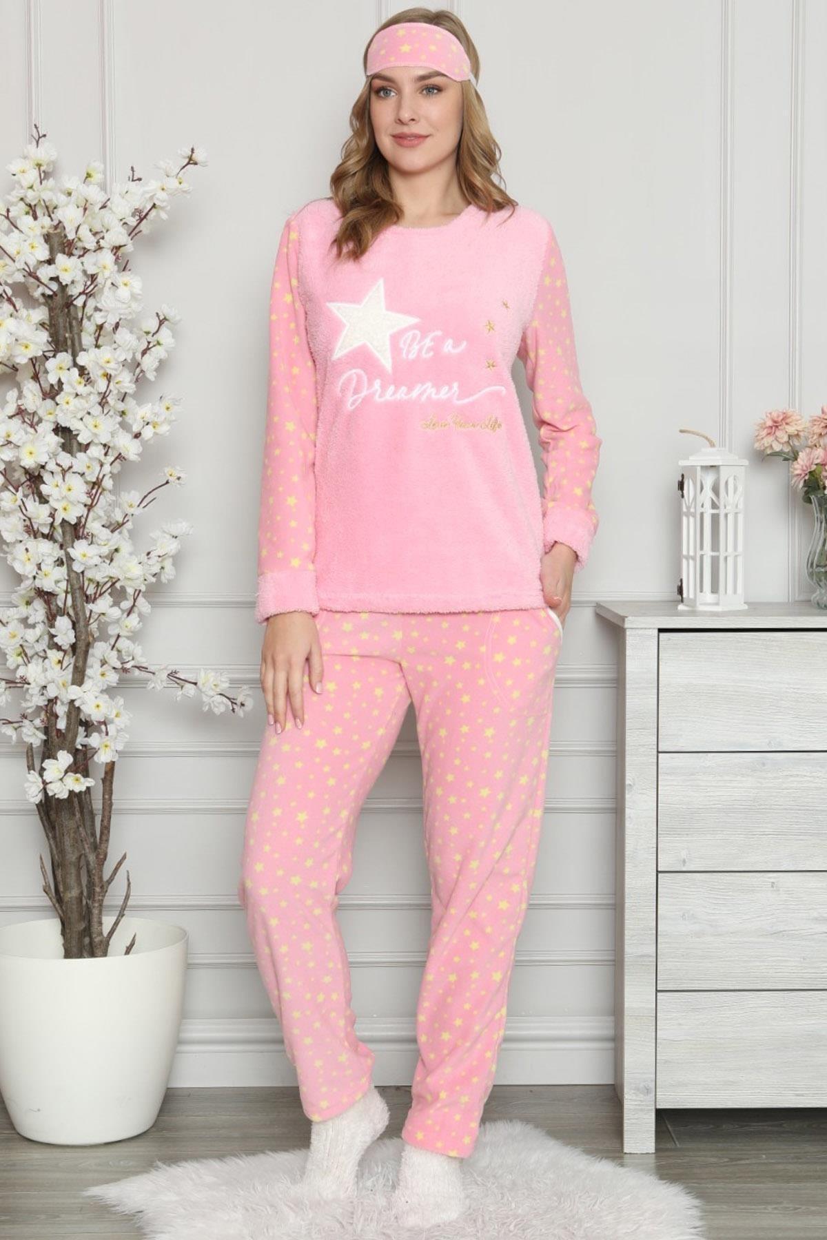 Pijamaevi Kadın Pembe Star Dreamer Desenli Peluş Pijama Takımı 2