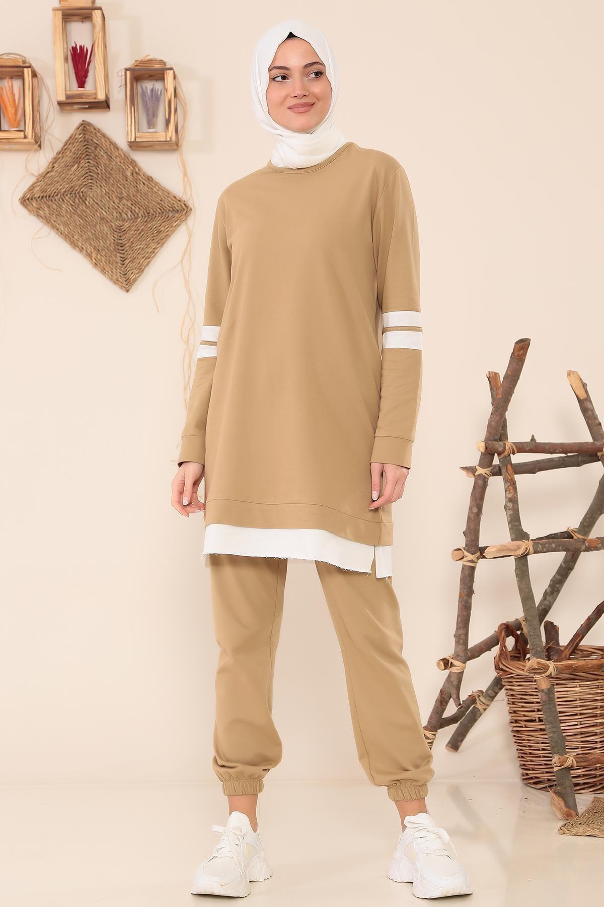 MODA GÜLAY Kolları Şeritli Salaş Pantalonlu Takım 1