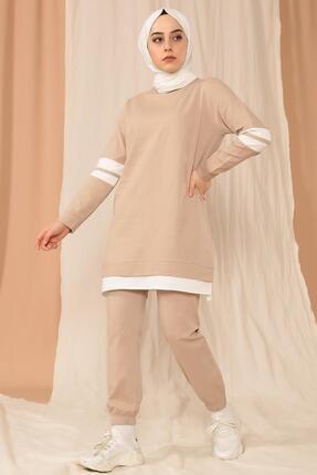 MODA GÜLAY Kolları Şeritli Salaş Pantalonlu Takım