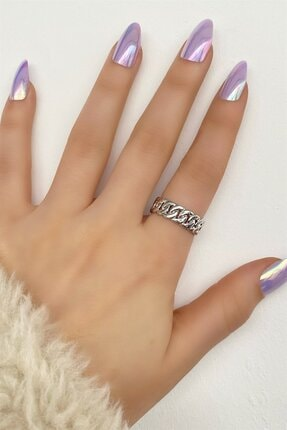 TAKIŞTIR Kadın Gümüş Renk Zincir Metal Ayarlanabilir Yüzük
