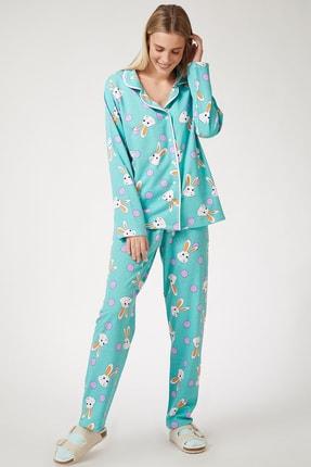 Happiness İst. Kadın Mint Yeşili Tavşan Desenli Örme Pijama Takımı ZV00057