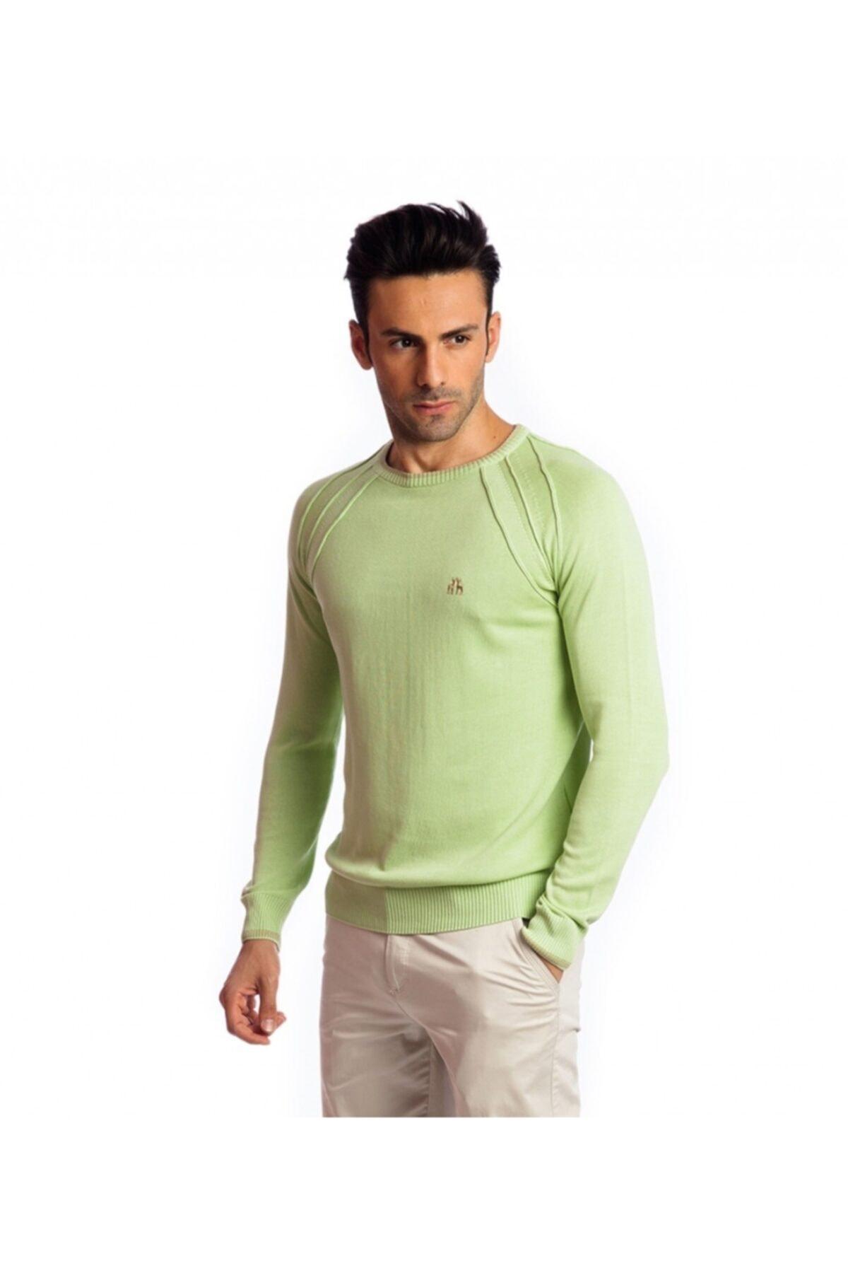 Karaca Erkek Yeşil Çift Geyik Slim Fit O Yaka Pamuk Kazak 1