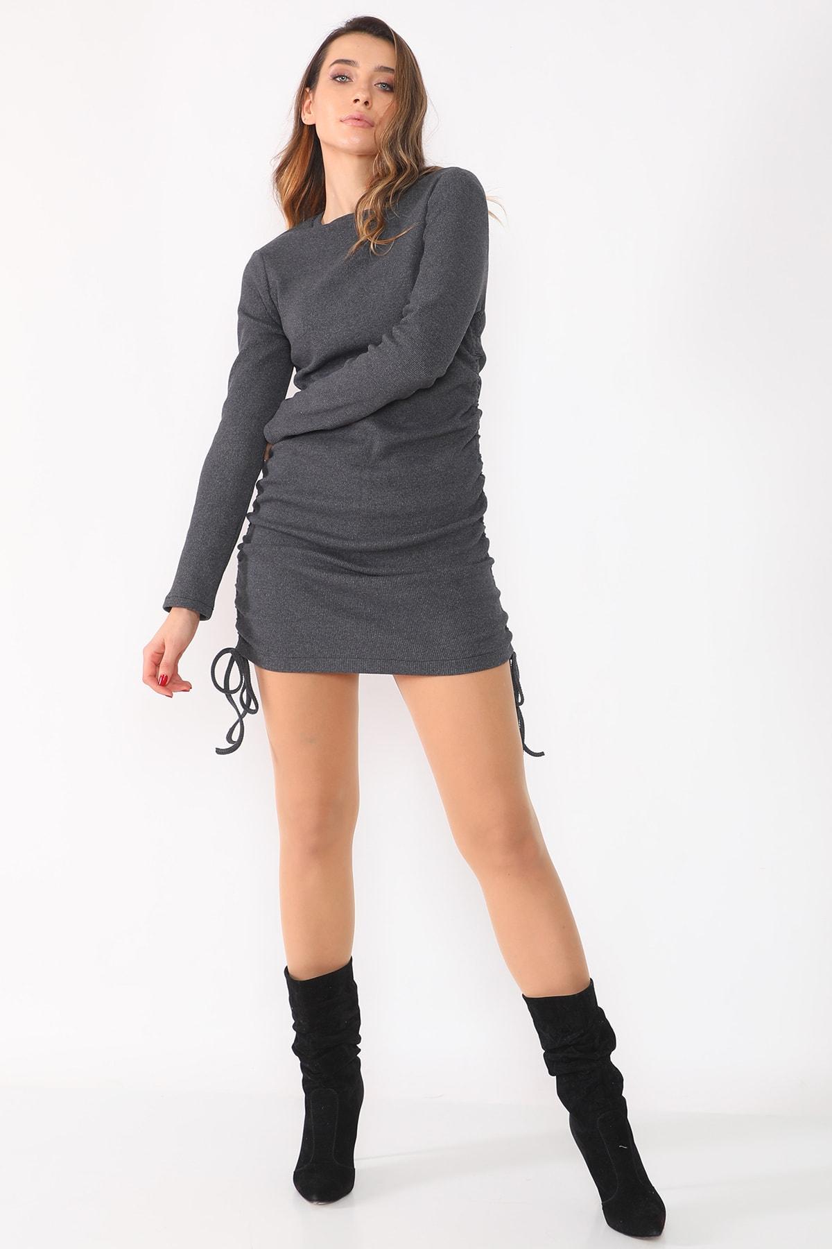 etselements Kadın Gri Yanları Büzgülü Kaşkorse Elbise 1