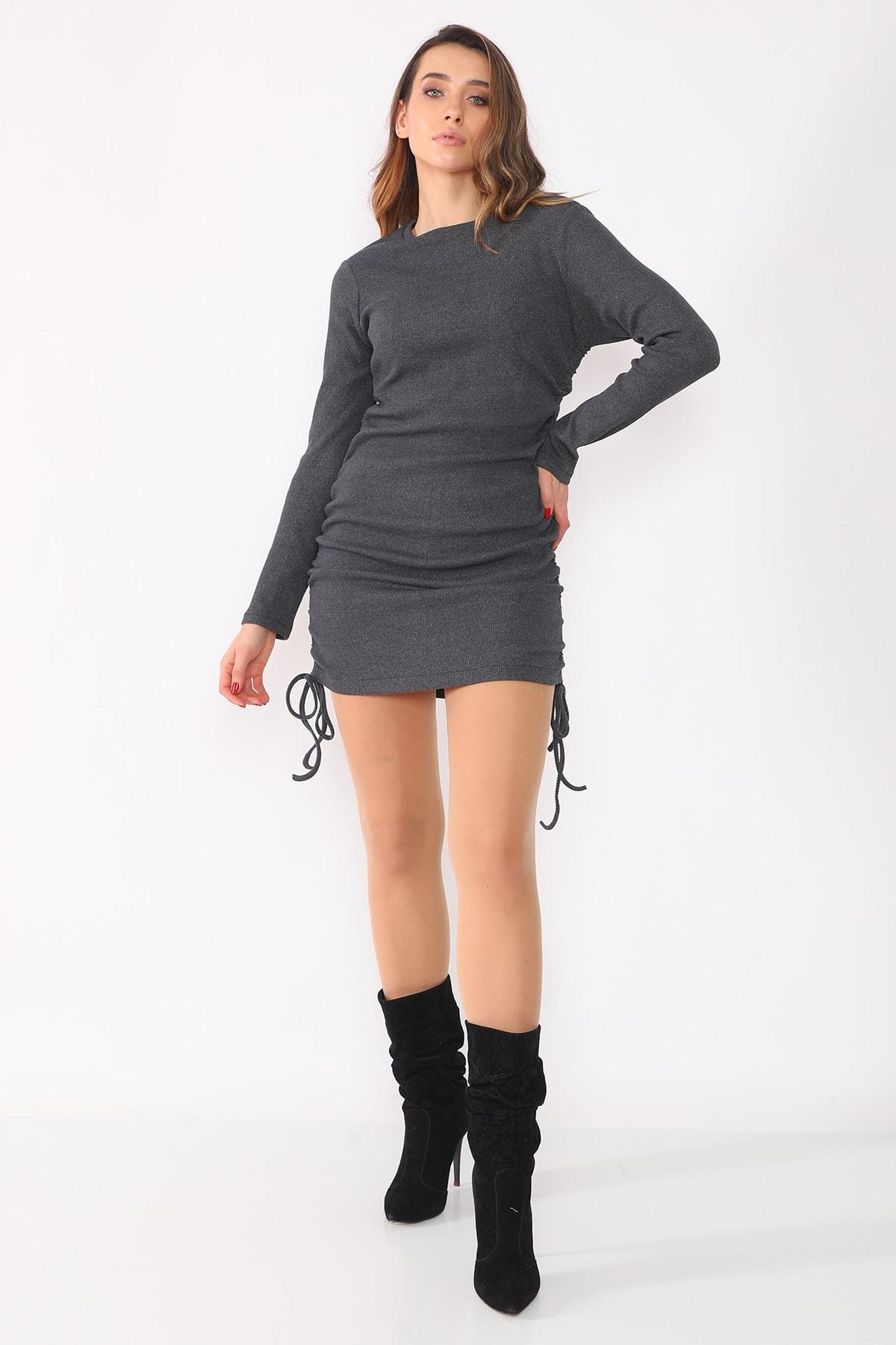 etselements Kadın Gri Yanları Büzgülü Kaşkorse Elbise 2