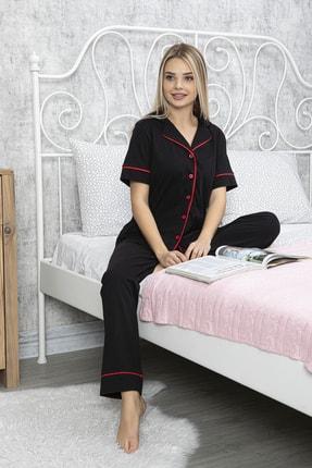 MyBen Kırmızı Şeritli Gömleği Düğmeli Pamuklu Siyah Renkli Yeni Sezon Kadın Pijama Takımı 70012