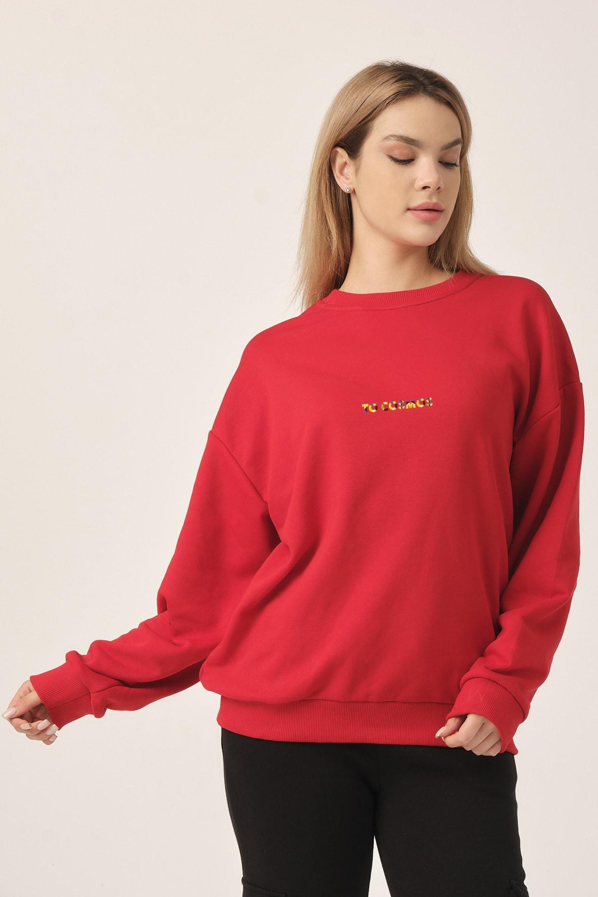 to COSMOS Oversıze Sweatshırt Unısex Renk Kırmızı Cosmos 2