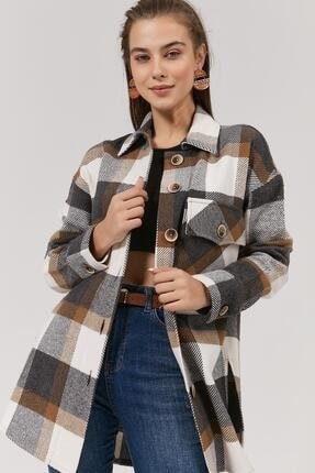 Pattaya Kadın Kahverengi Kareli Oduncu Gömlek Ceket