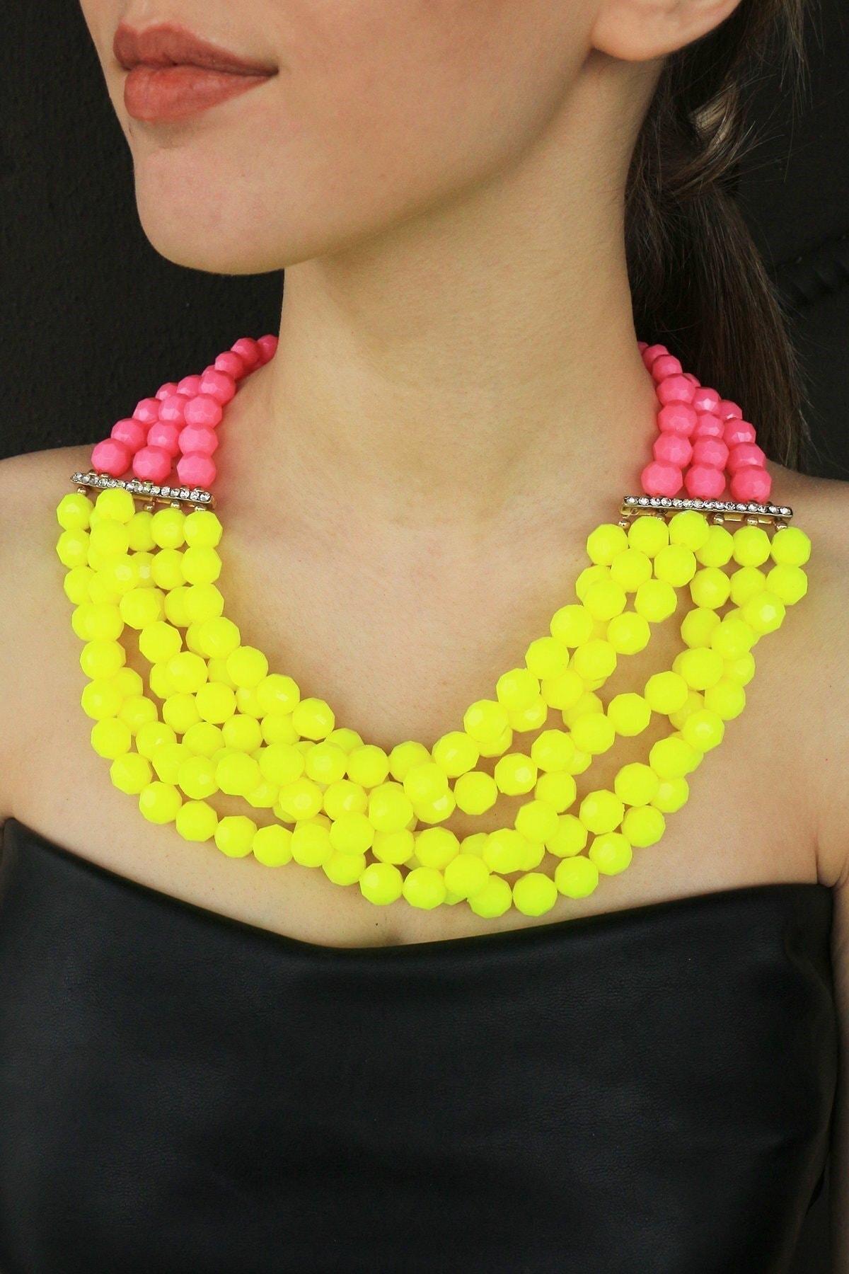 TAKIŞTIR Özel Tasarım Pembe Ve Sarı Renk Boncuklu Kolye 1
