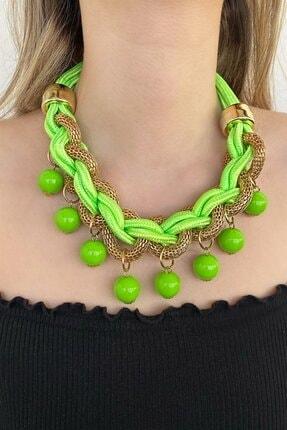 TAKIŞTIR Kadın Özel Tasarım Yeşil Renk Kolye