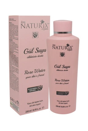 Naturix Gözenek Sıkılaştırıcı Tonik Etkili Onarıcı Gül Suyu Saf Rose Water %100 Doğal 250 ml Cilt Besleyici
