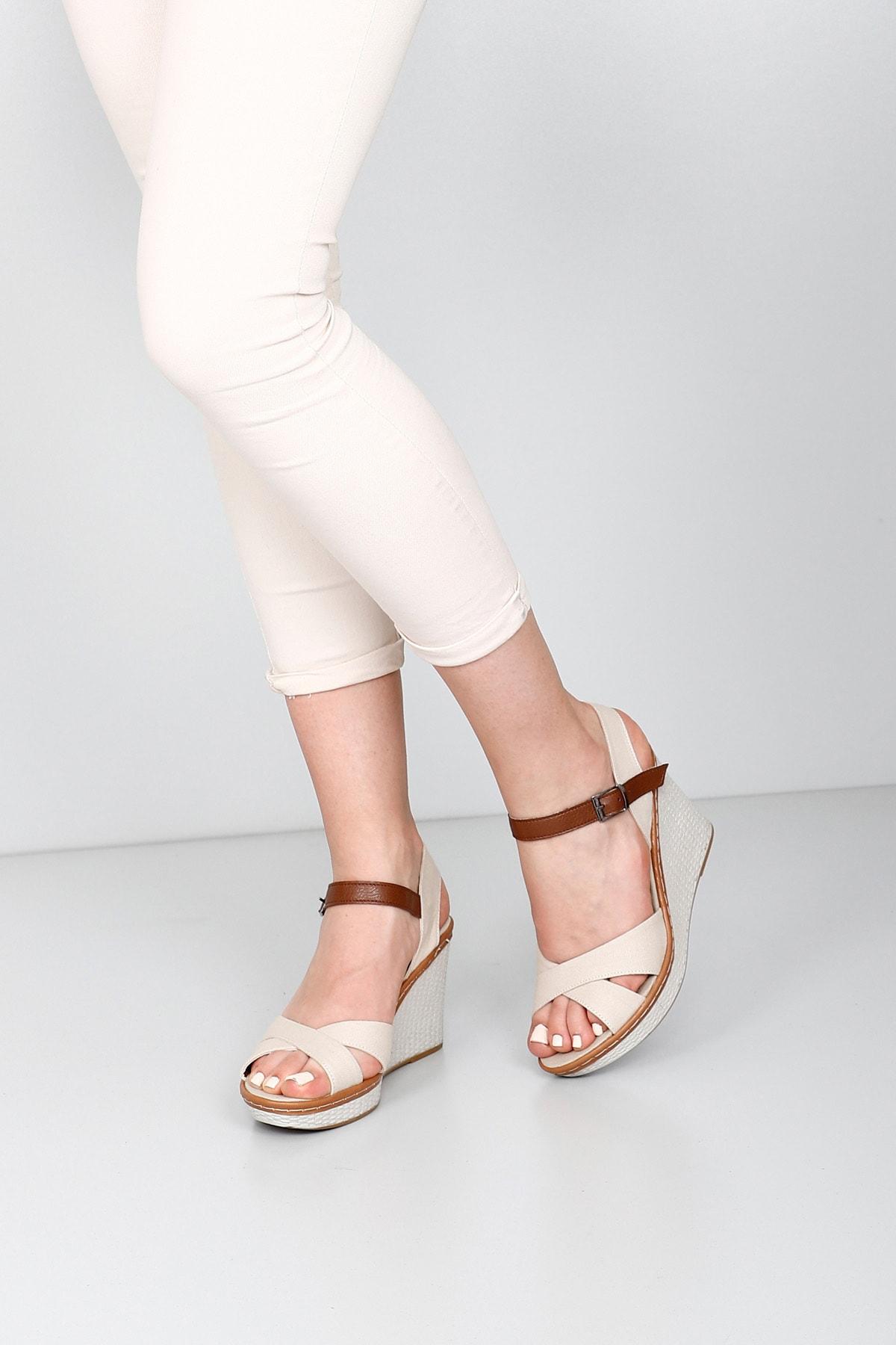 GÖNDERİ(R) Bej Keten Kadın Sandalet 37701 2