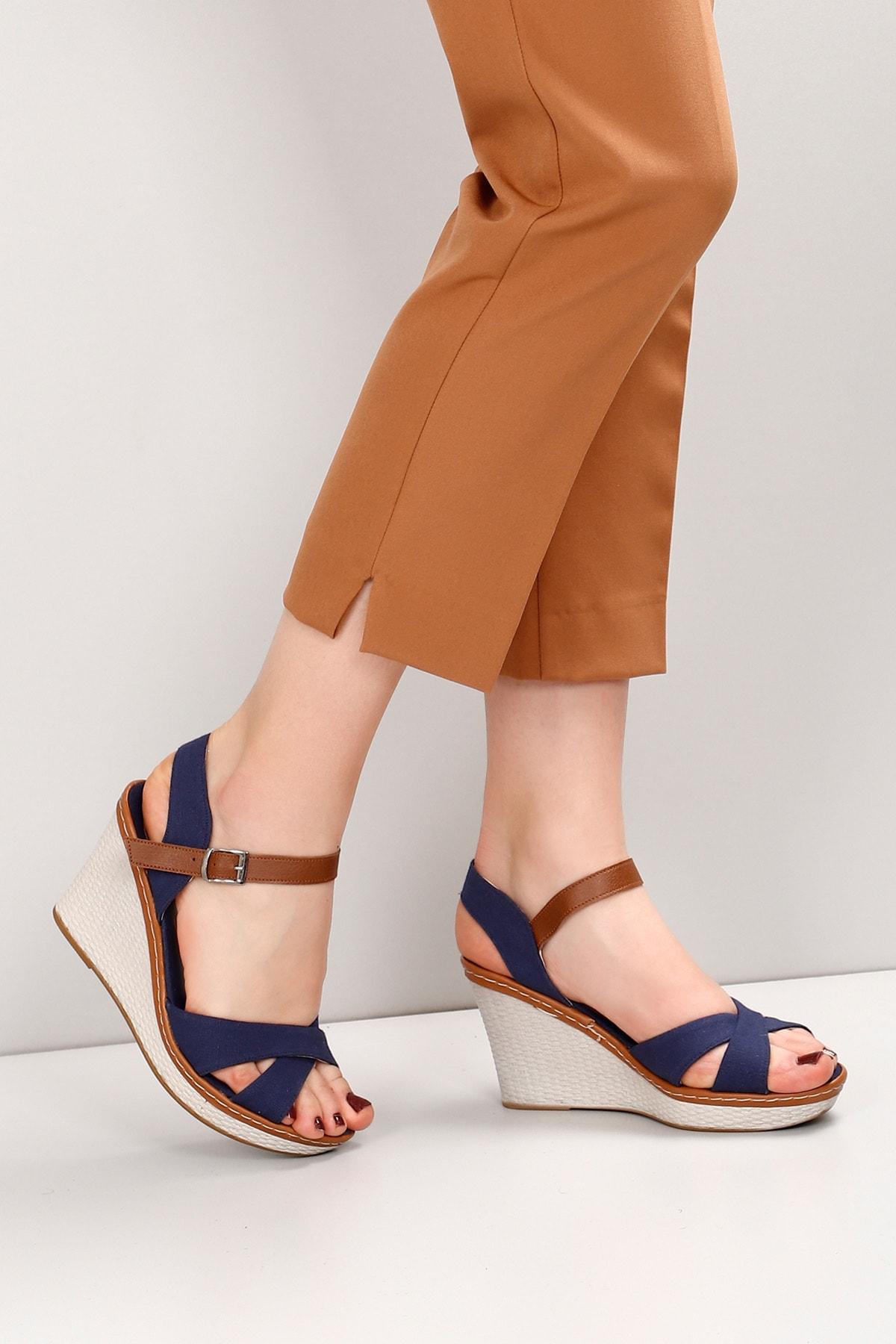 GÖNDERİ(R) Lacivert Keten Kadın Sandalet 37701 2