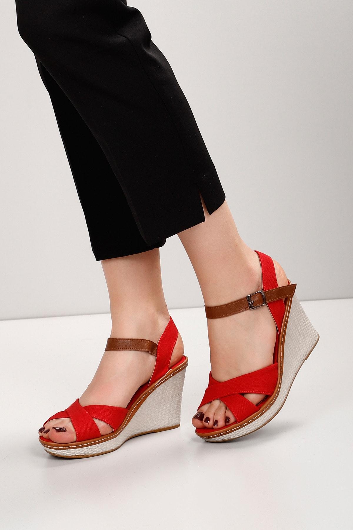 GÖNDERİ(R) Kırmızı Keten Kadın Sandalet 37701 2