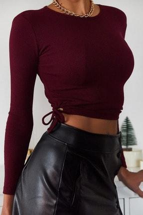 XENA Kadın Bordo Yanları Bağlamalı Bluz 1KZK2-11038-05