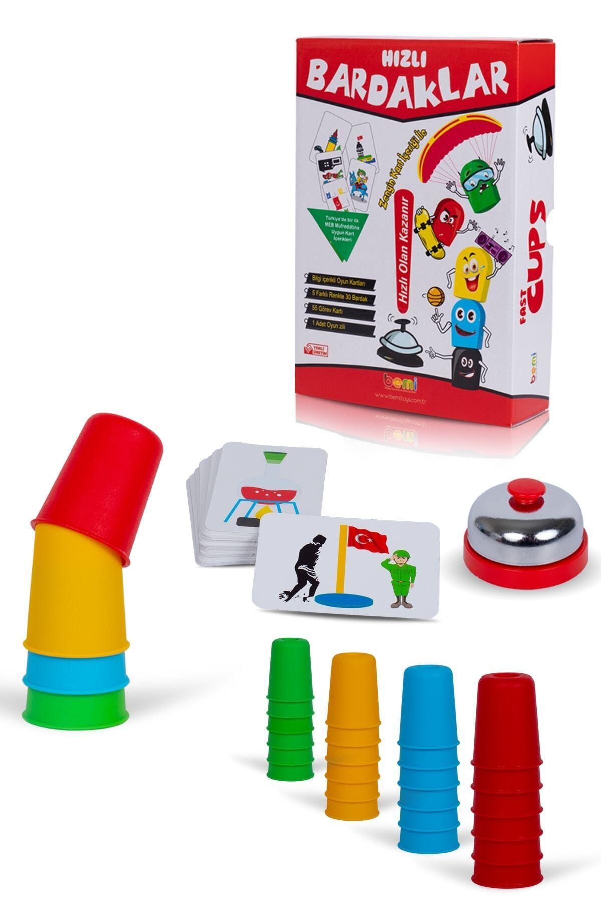 BEMİ Süper Hızlı Pratik Bardaklar Akıl Hafıza Mantık Eğitici Zeka Strateji Çocuk Ve Aile Kutu Oyunu 1