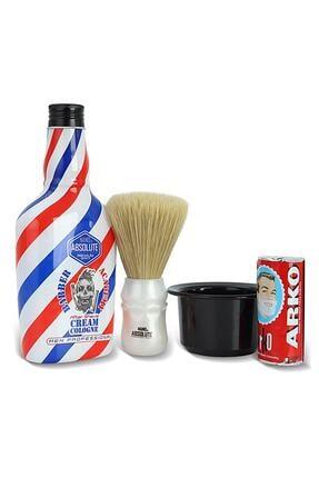 ARKO Berber Tıraş Sabunu 75 Gr. + Nano Absolute Krem Kolonya 400 Ml + Ense Fırçası + Tıraş Kasesi Tası