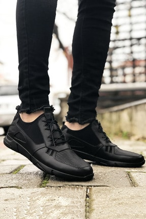 BIG KING Hakiki Siyah Deri Spor Model Erkek Ayakkabı