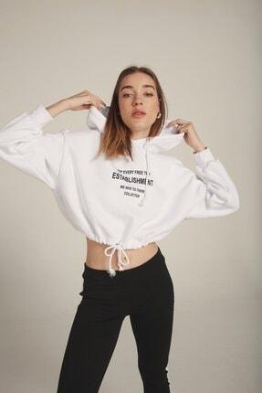 Eka Kadın Beyaz Kapüşonlu Baskılı Beli Bağcıklı Şardonlu Sweatshirt