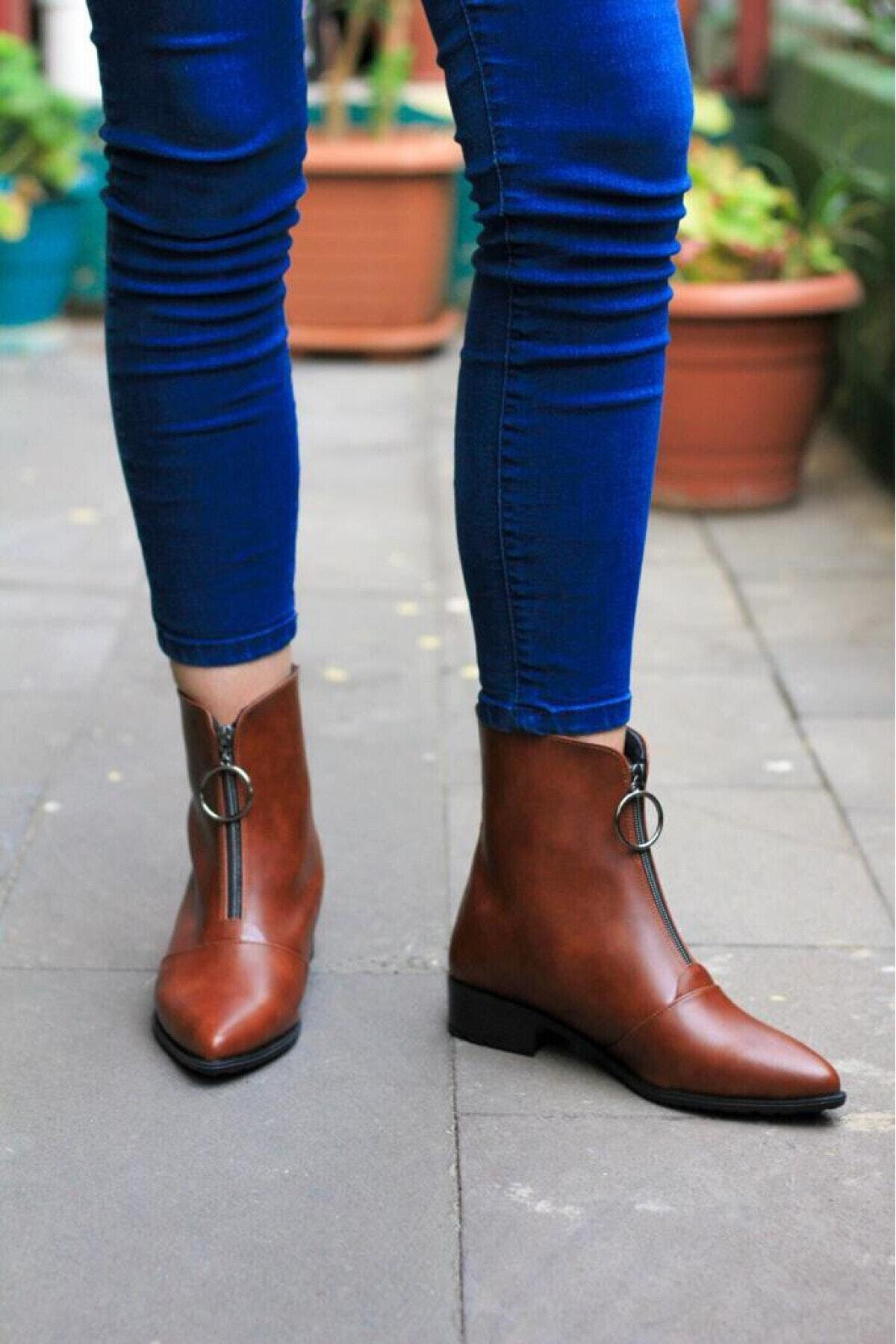 S&S Kadın Kahverengi Cilt 3cm Topuklu Bot 1