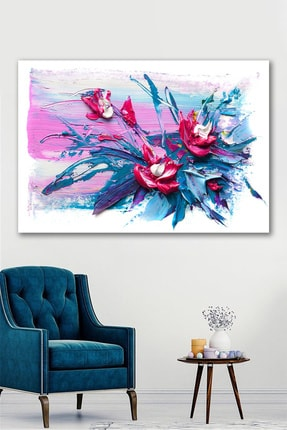 Hediyeler Kapında Yağlı Boya Görünümlü Pink & Blue Kanvas Tablo 90x130