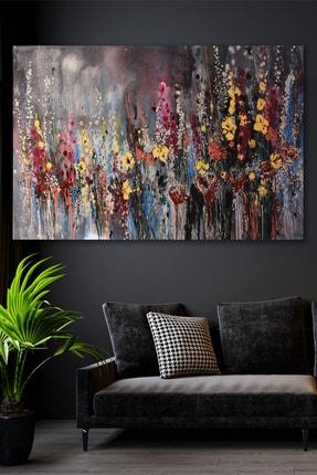 Hediyeler Kapında Yağlı Boya Görünümlü Fırça Ve Çiçek Kanvas Tablo 90x130
