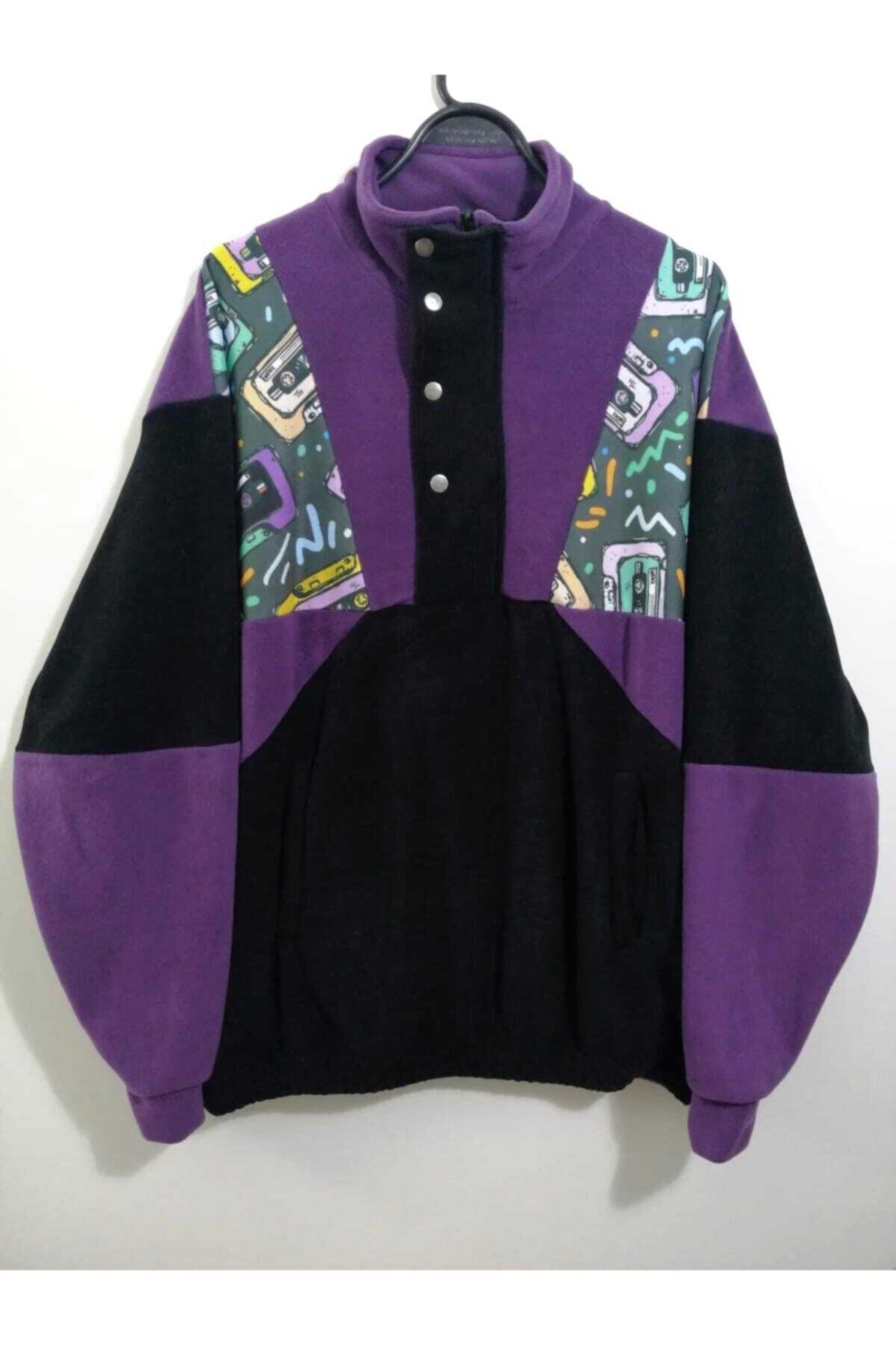 Vatkalimon Unisex Siyah Mor Yarım Fermuarlı Polar Sweatshirt 2