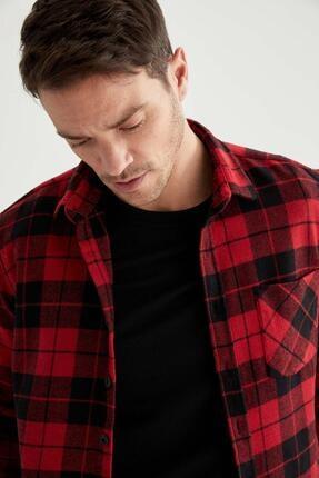 DeFacto Kareli Modern Fit Uzun Kollu Gömlek Ceket