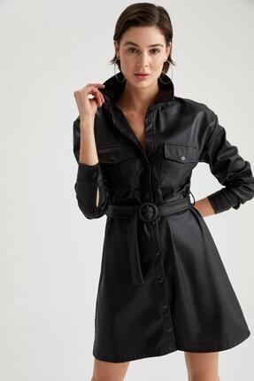 DeFacto Kadın Siyah Suni Deri Mini Boy Kemer Detaylı Elbise