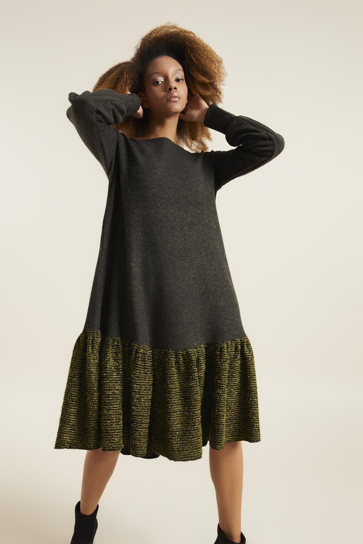 Quincey Kadın Haki Örme Elbise 1