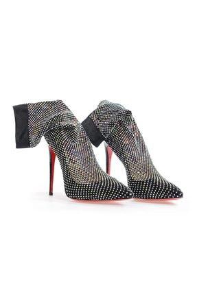 Flower Kadın Siyah File Taşlı Topuklu Ayakkabı