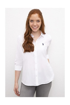 U.S. Polo Assn. Beyaz Kadın Dokuma Gömlek