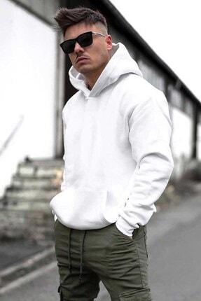 Madmext Erkek Beyaz Oversize Kapşonlu Sweatshirt 4391