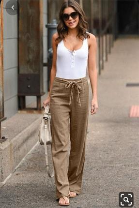 diaves Kadın Beli Lastikli Kuşak Detay Keten Pantolon