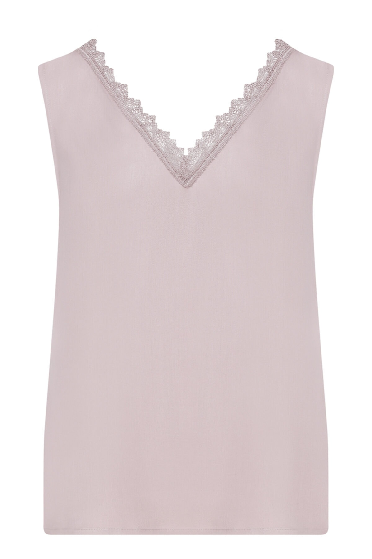 W Collection Kadın Pudra Dantelli Kolsuz Bluz 2