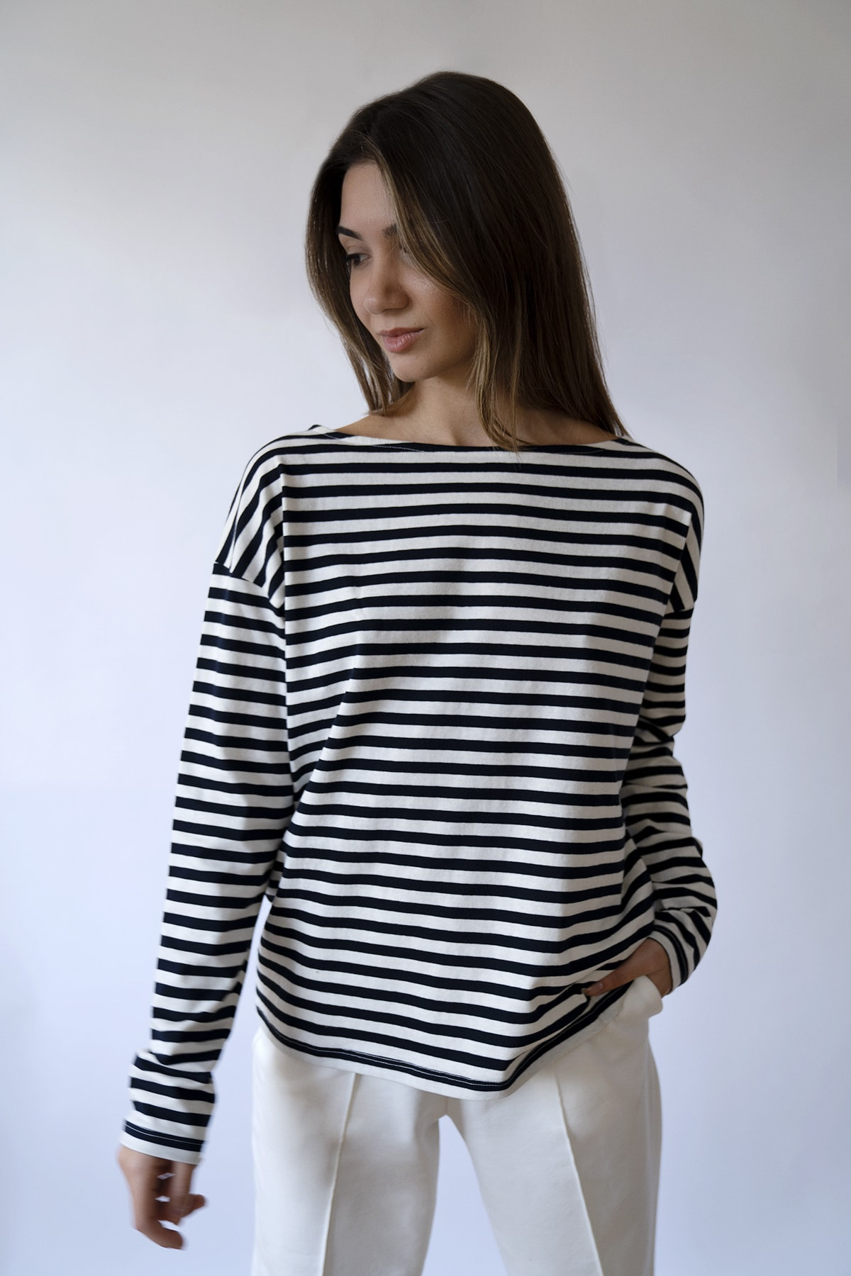 BeCasual Kadın Çizgili Uzun Kollu Kayık Yaka T-shirt 2