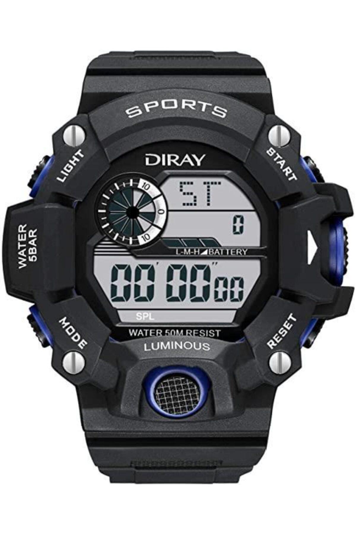 DIRAY Su Geçirmez Işıklı Sporcu Asker Kol Saati Mavi 1