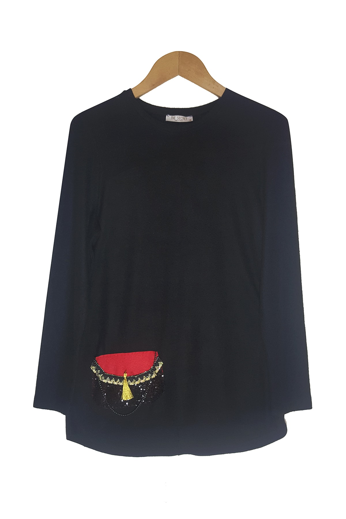 ZECİ COLLECTION Kadın Siyah Yumoş Kumaş Çanta Tasarımlı Triko 1