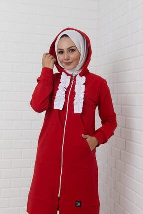 THE RAREBELL Kadın Kırmızı Kapüşonlu Eşofman Takım