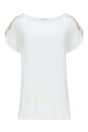 Nocturne Kadın Ekru Omuzları Inci Ve Kristal Taş Işlemeli Tişört