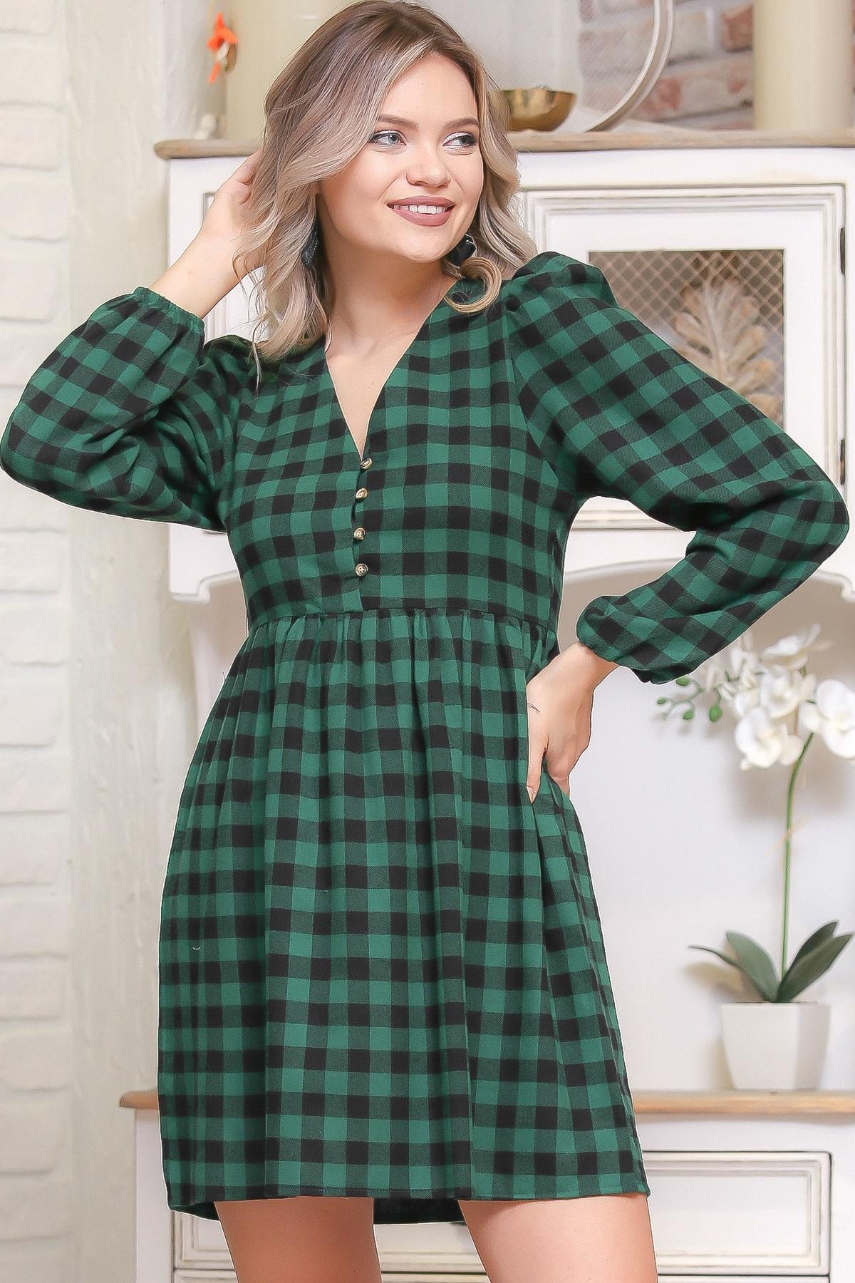 Chiccy Kadın Multİ Ekose Desen Düğme Detaylı Retro Elbise M10160000EL95976 1