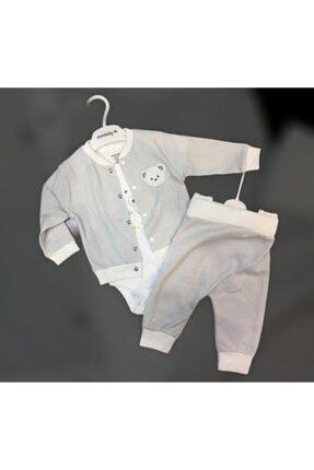 Ciccim Baby Erkek Bebek Gri Ayıcık Desenli Takım 3'lü