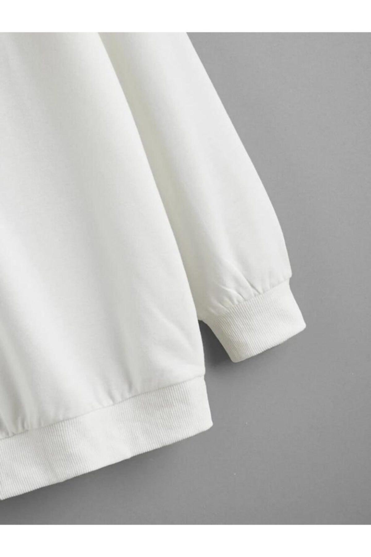 cartoonsshop Unisex Beyaz Düz Basic Sweatshirt 2