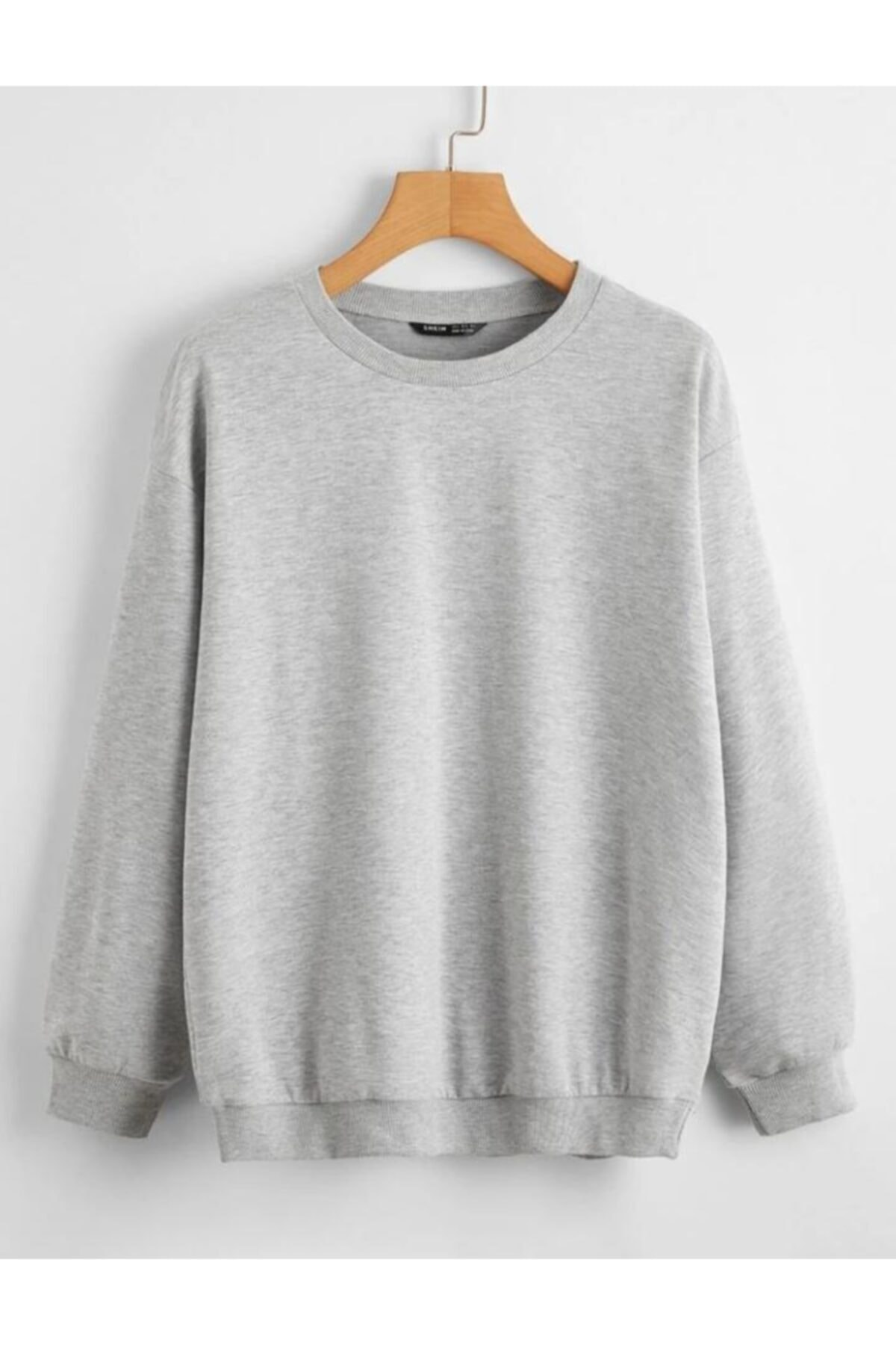 cartoonsshop Unisex Gri Düz Basic Sweatshirt 1