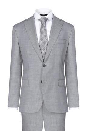 W Collection Erkek Gri Kendinden Desenli Takım Elbise