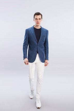 W Collection Erkek Mavi Jakarlı Ceket