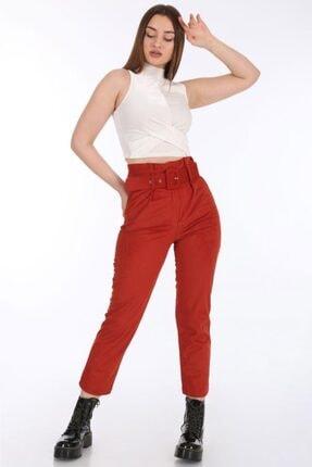 Bigdart Kadın Turuncu Kemerli Kadife Pantolon